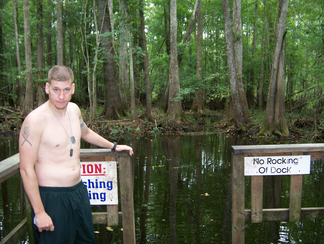 Tough call, but Tom decides not to swim in Little Blue Springs