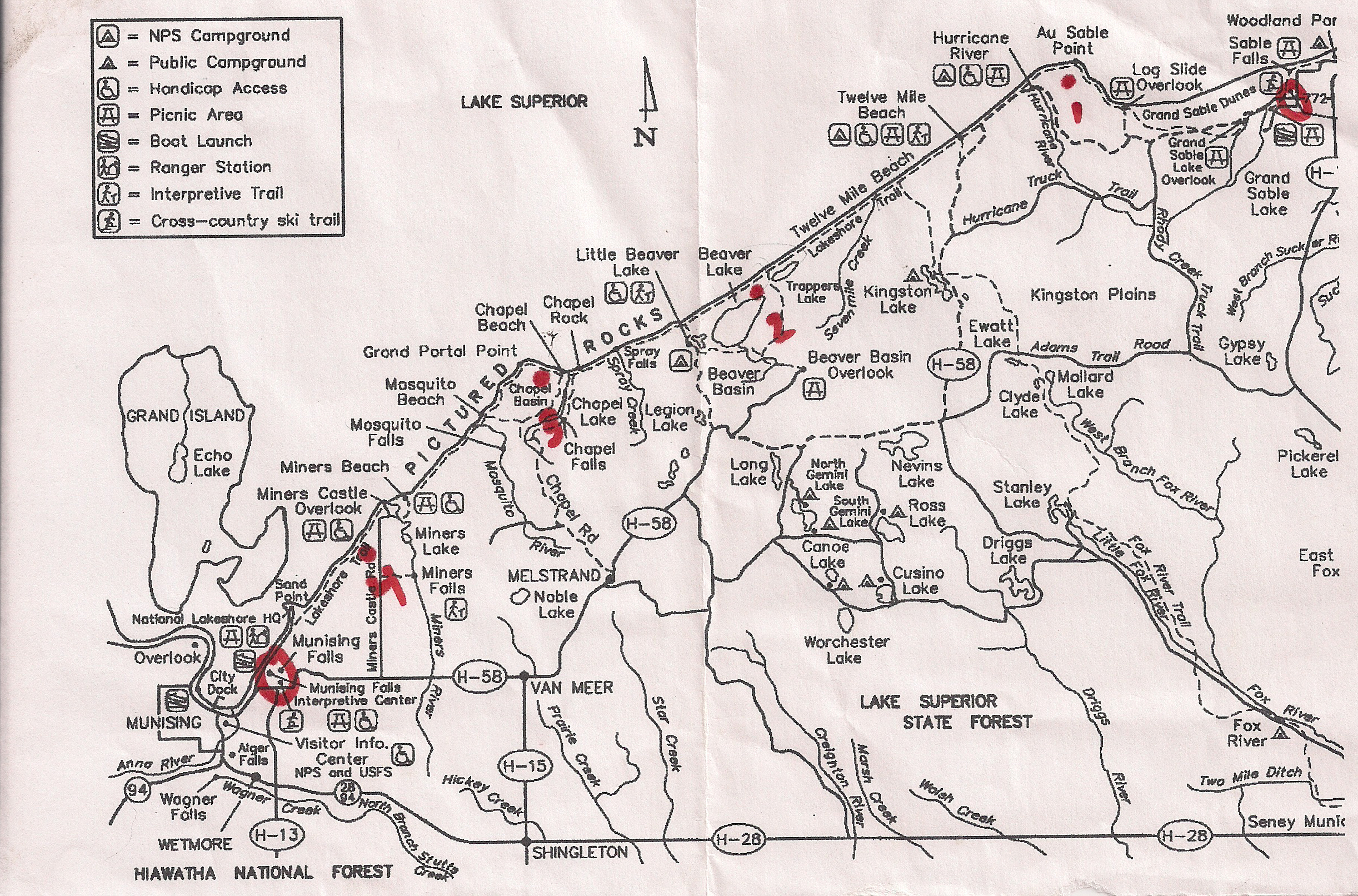 Picture Rocks Michigan Map.Pictured Rocks Trail Map 1 Seeking Lost Hiking Backpacking