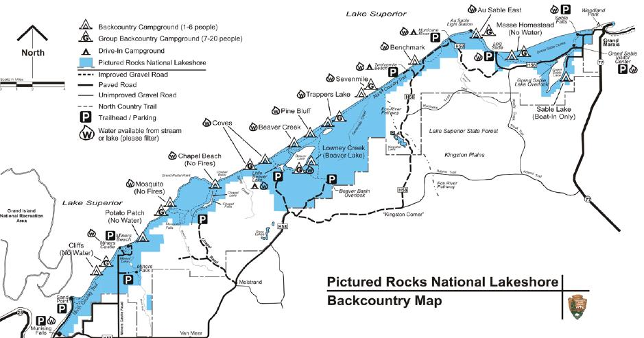Picture Rocks Michigan Map.Pictured Rocks National Lakeshore Backcountry Trail Map Seeking