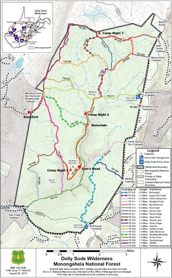 Dolly Sods Trail Map on