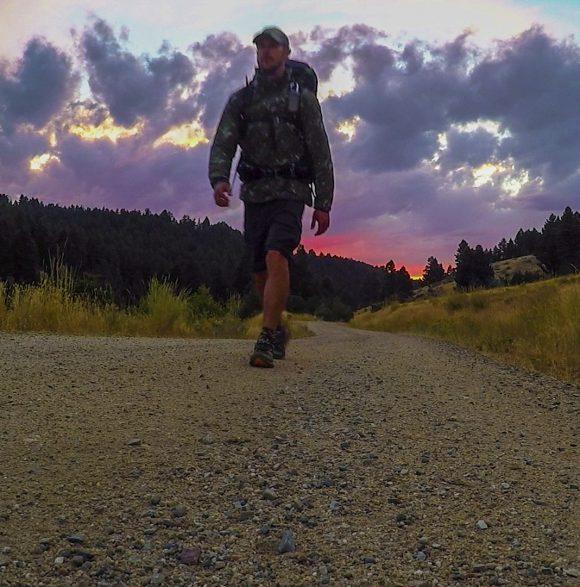 vibrant sunset cdt hiker montana