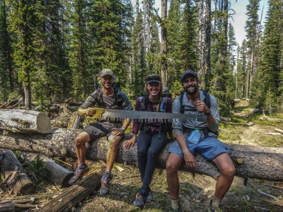 cdt hikers pose along the trail in yellowstone on their 2018 thru hike