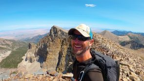 long distance hiker eric poulin on mountain ridgeline